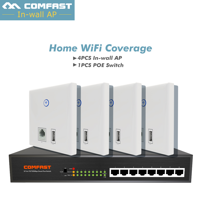 Cheaper Set For home wifi cover solution, Comfast 4pc CF-E536N Wall ap 86 panle +1pc 8*10/100 fast 8 ports poe Ethernet Switch comfast full gigabit core gateway ac gateway controller mt7621 wifi project manager with 4 1000mbps wan lan port 880mhz cf ac200