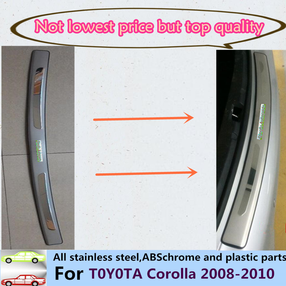 For Toyota Corolla 2008-2010 Car cover Stainless Steel outside Rear Bumper Strip trim plate lamp frame threshold pedal 1pcs high quality stainless steel car window trim strip 16pcs for 2010 livina 5dr