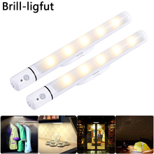Portable 3*AA Battery operated LED Under Cabinet Light Wireless PIR Motion Sensor Closet Wardrobe Stairs Hallway Night lamp eco cat pir motion sensor led strip light wireless battery operated wardrobe under bed for bedroom stairway cabinet