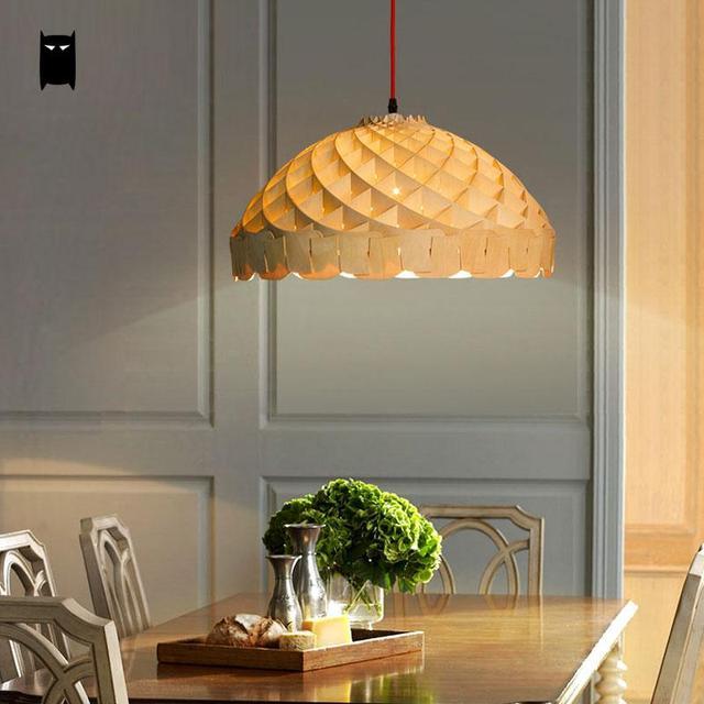 Wood Honey Comb Shade Pendant Light Fixture Chinese Creative Suspension L& Lustre Plafon Design Dining Bed & Wood Honey Comb Shade Pendant Light Fixture Chinese Creative ...