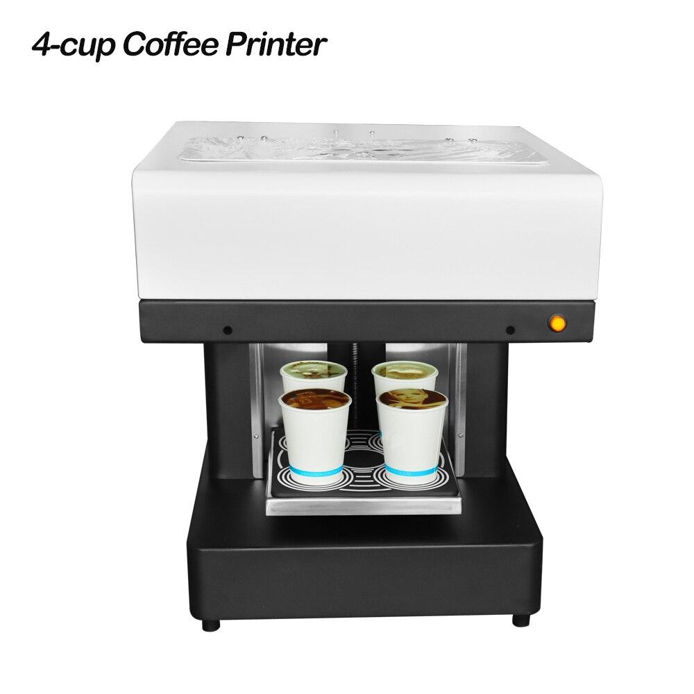 4 чашки селфи кофе принтер еда печатная машина для Латте Торт Пицца Печенье Хлеб йогурт печати