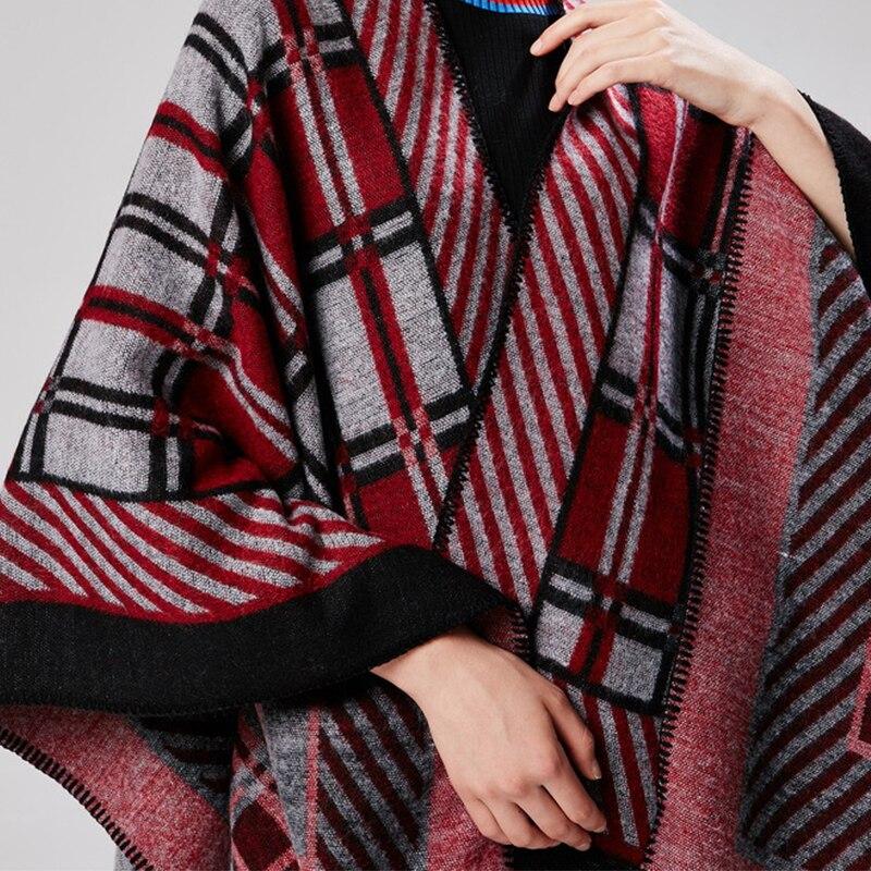 9fc5ba7e7 AKIZON] Vintage plaid scarf cashmere feel poncho luxury brand cloak ...