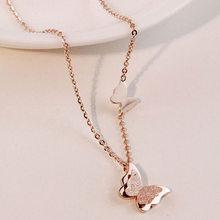 2015 Summer Style Smart Butterfly Pendant Necklace For Woman Titanium Steel Rose Gold Color Fashion Jewelry Gift Free Shipping
