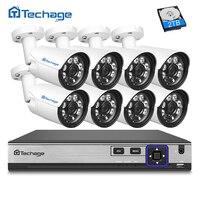 Techage H 265 8CH 4MP POE NVR CCTV System 4MP Outdoor 6 Array IR Leds IP