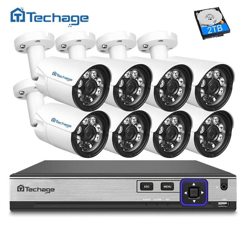 Techage H.265 4MP POE CCTV sistema 8CH NVR 4MP al aire libre del IR del arsenal Leds IP Cámara P2P Onvif seguridad Video vigilancia kit 2 TB HDD