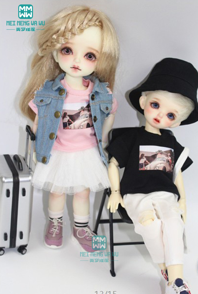 BJD Doll Clothes Fits 1/6 BJD Doll Fashion Denim Vest T-shirt Trousers