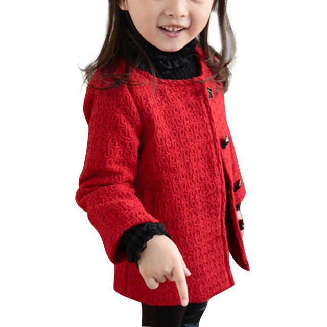 2-7Y Children Jackets Girl Solid Long Single Breasted Jackets For Girls Princess Coat All-match Autumn Winter Outerwear Coats