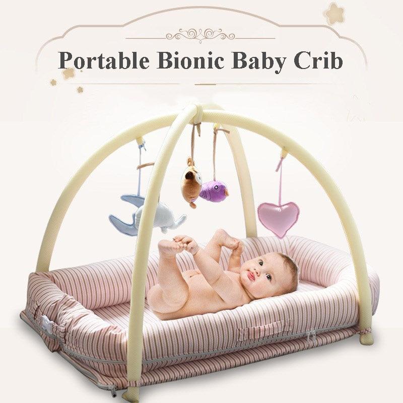 Детские Портативный Bionic кроватки младенческой хлопок кровать для игр коаксиальный спальный путешествия кровати с кронштейном Малый мульт