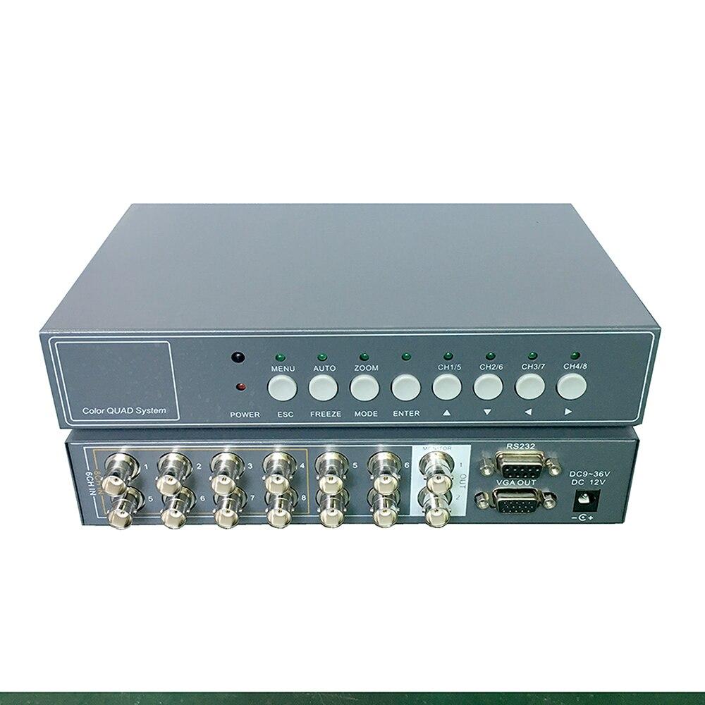 YiiSPO 6CH Vidéo Splitter Haute Performance 6 chanle CCTV Processeur Vidéo Quad avec VGA/BNC Sortie et Télécommande RS232