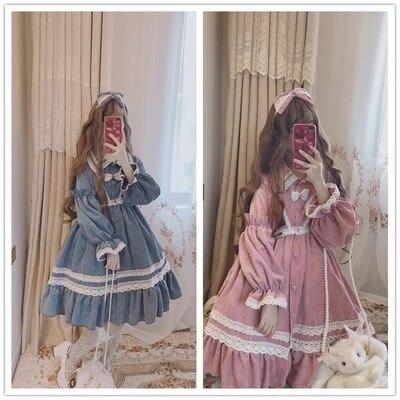 women young Chiffon Lolita student Dress Ruffle SHORT long Sleeve High Waist Classical Princess Dresses Cosplay