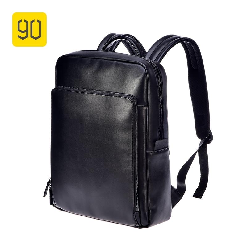 Xiaomi Ecosystem 90FUN PU Leather Backpack Fashion Bussiness Design Waterproof Durable Bag for College School Travel Black xiaomi 90fun brand leisure daypack business waterproof backpack 14 laptop commute college school travel trip grey
