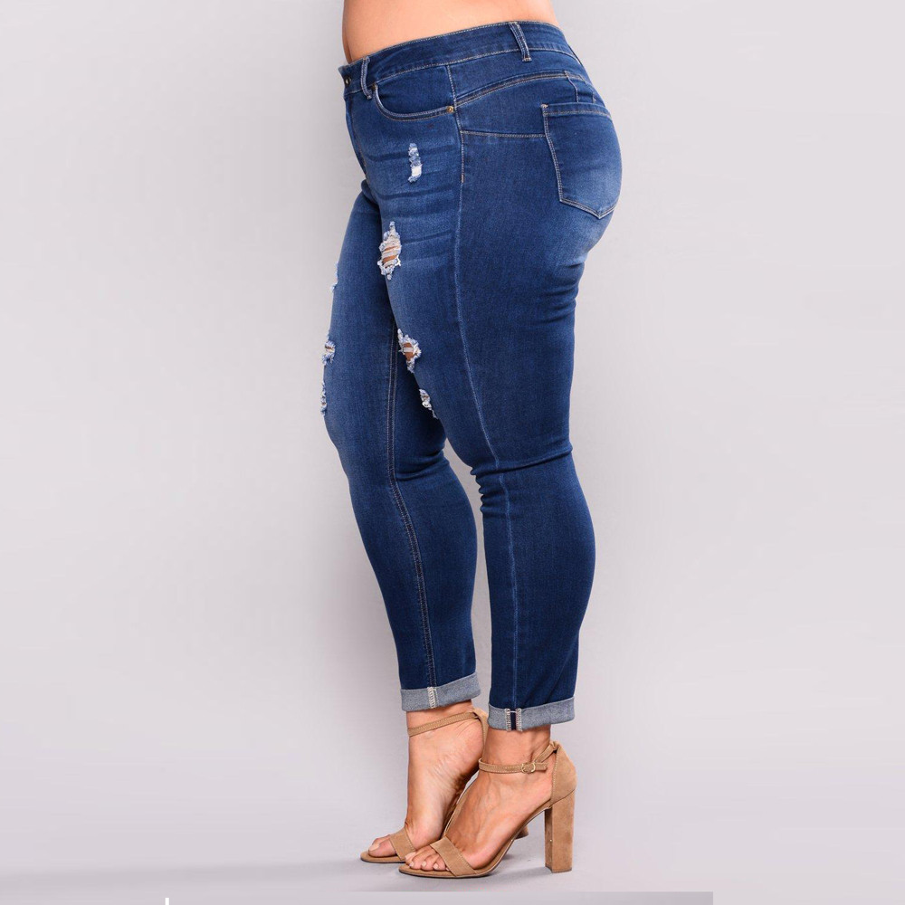 Ripped Jeans Women Size Stretch Slim Denim Skinny Pants High Waist Trousers