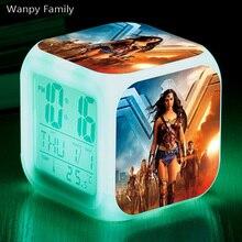 [Wanpy Family] Wonder Woman Alarm Clock For Childrens Birthday Gift Bedside Desktop Color Changing Digital