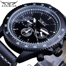 Jaragar Cool Black Racing Mens Automatic Watches Gear Bezel Date Genuine Leather Wrist Watch Sport Glow Hands Mechanical Clock