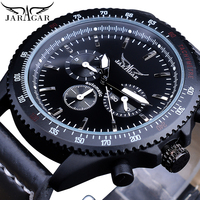 Jaragar Cool Black Racing Men's Automatic Watches Gear Bezel Date Genuine Leather Wrist Watch Sport Glow Hands Mechanical Clock