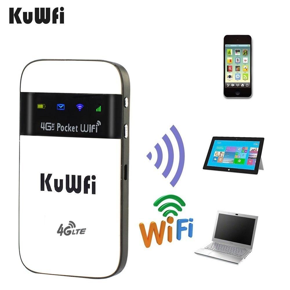 KuWfi 4g Wifi Routeur 3g/4g LTE Sans Fil Wifi Routeur pour Voyage Mobile 4g Wi-fi hotspot Mini LTE Modem Avec Carte SIM Solt