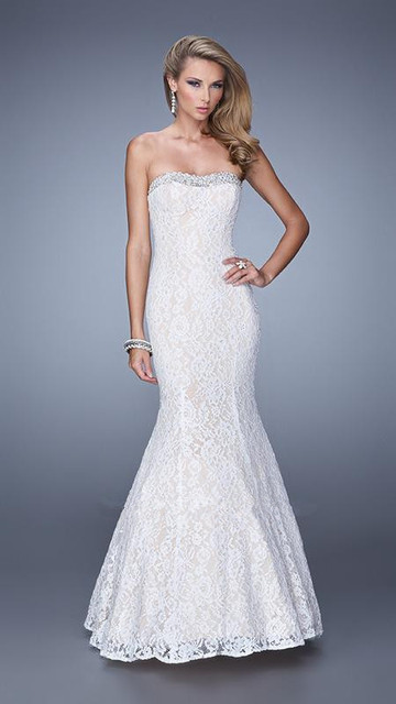 Enticing Mermaid Floor length Pearls Sweetheart Neckline Lace White ...