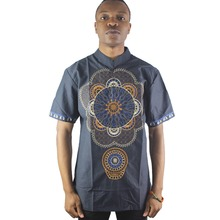 Africa Navy Blue Front and Sleeves Lotus Embroidered Men`s Ethnic Tops Summer Short Sleeved Male`s Folk Shirts цена