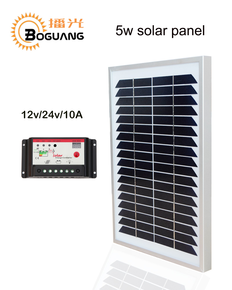 Boguang <font><b>solar</b></font> <font><b>panel</b></font> <font><b>5w</b></font> PV module glass frame <font><b>12v</b></font> <font><b>Solar</b></font> System DIY kit PWM 10A controller for charge battery light Electrical image