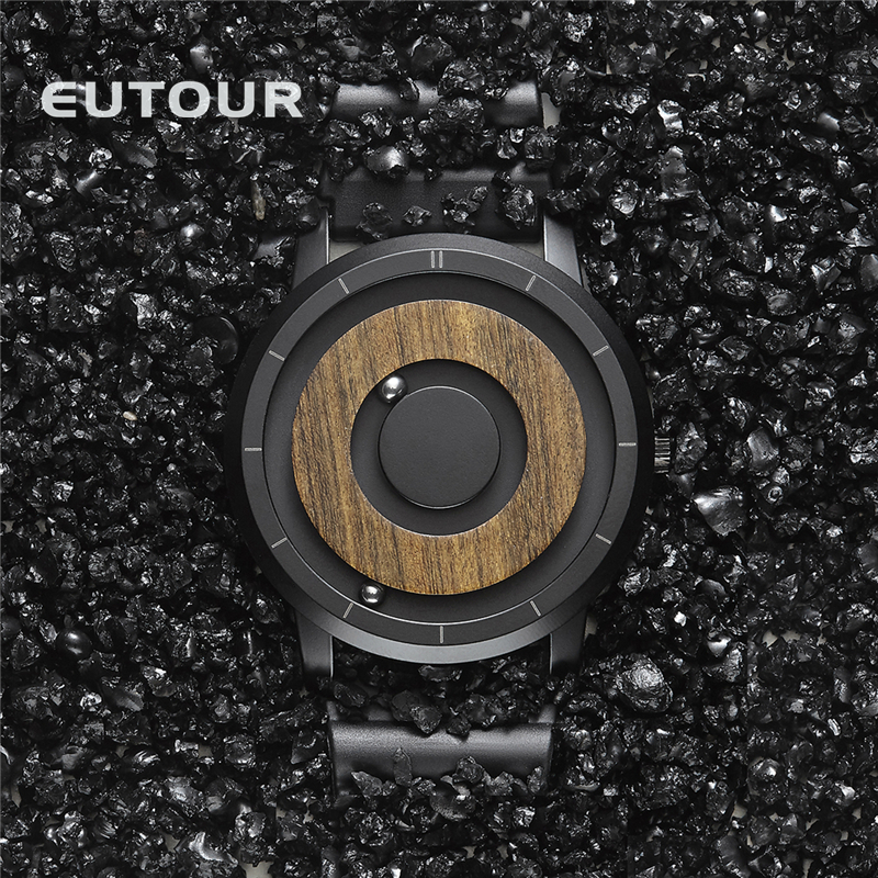 EUTOUR  Magnet Watches 2019 men watch women watches fashion Casual Quartz Watch Simple Men Minimalist Wooden dial 1