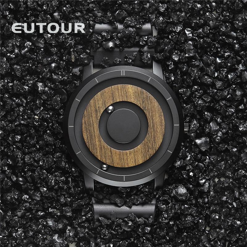 EUTOUR  Magnet Watches  Men watch women watches fashion Casual Quartz Watch Simple Men Minimalist Wooden dial
