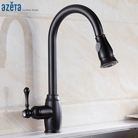 Azeta Kitchen Faucets ORB Pull Out Kitchen Water Mixer Tap 360 Degree Swive Double Sprayer Kitchen Sink Faucet Torneira AT9984OB