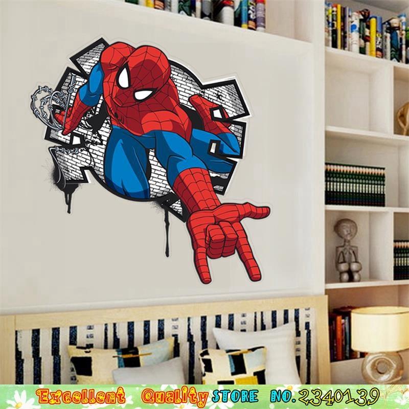 Cool 3d Spiderman Break Wall Stickers Marvel