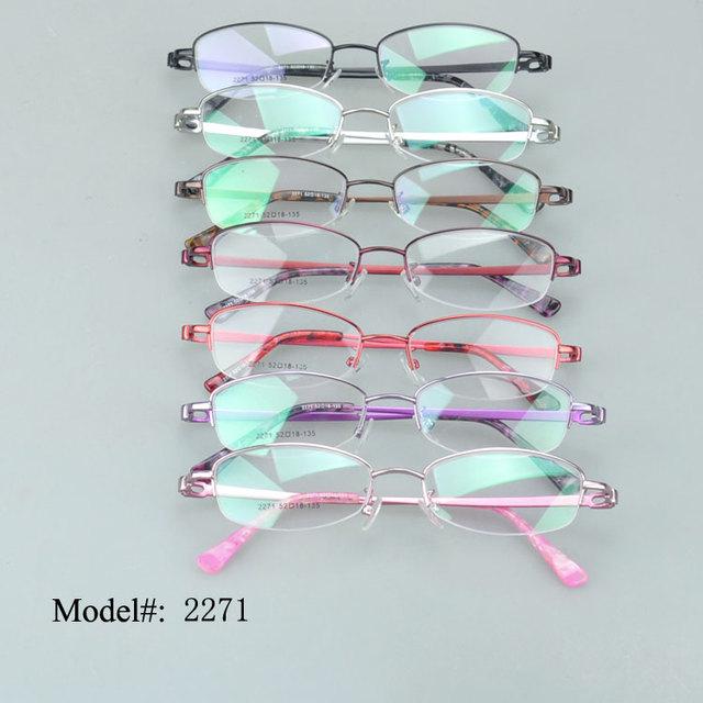 2271 mulheres metade aro colorido material de liga de metal óculos ópticos quadro miopia óculos óculos óculos