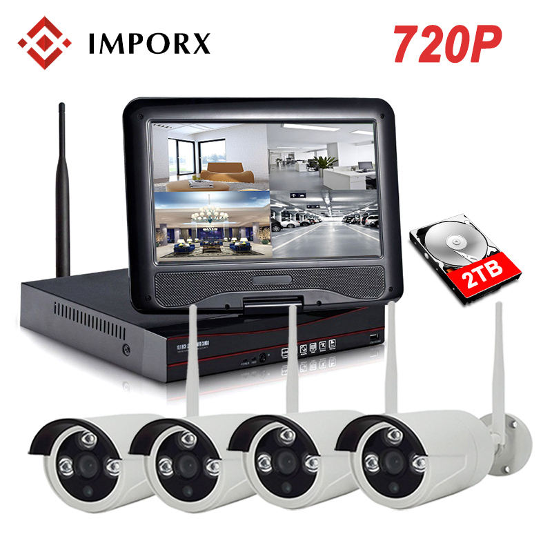 IMPORX 4CH 720P Wireless NVR Kit With 10 LCD Monitor Screen Wifi CCTV System 1.0MP IP Camera Outdoor Security Surveillance Kit