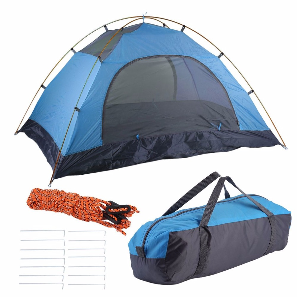Super Lightweight Tents Waterproof Double Layers 2 Person Tents Outdoor Camping Hiking 190T Polyester Portable Beach Tent 2018 hillman camping tent high mountain highland snow mountain double layers silicone coating tents super windproof rainproof