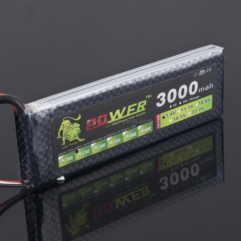 LION Power <font><b>7.4V</b></font> <font><b>3000mAh</b></font> 25C <font><b>LiPO</b></font> <font><b>battery</b></font> T plug Burst 50C RC model lipoly power pack image