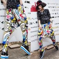 Baalmar çocuklar yetişkin marka bahar yaz sweatpants kostümler renkli patchwork kasetli caz pantolon harem hip hop dans pantolon