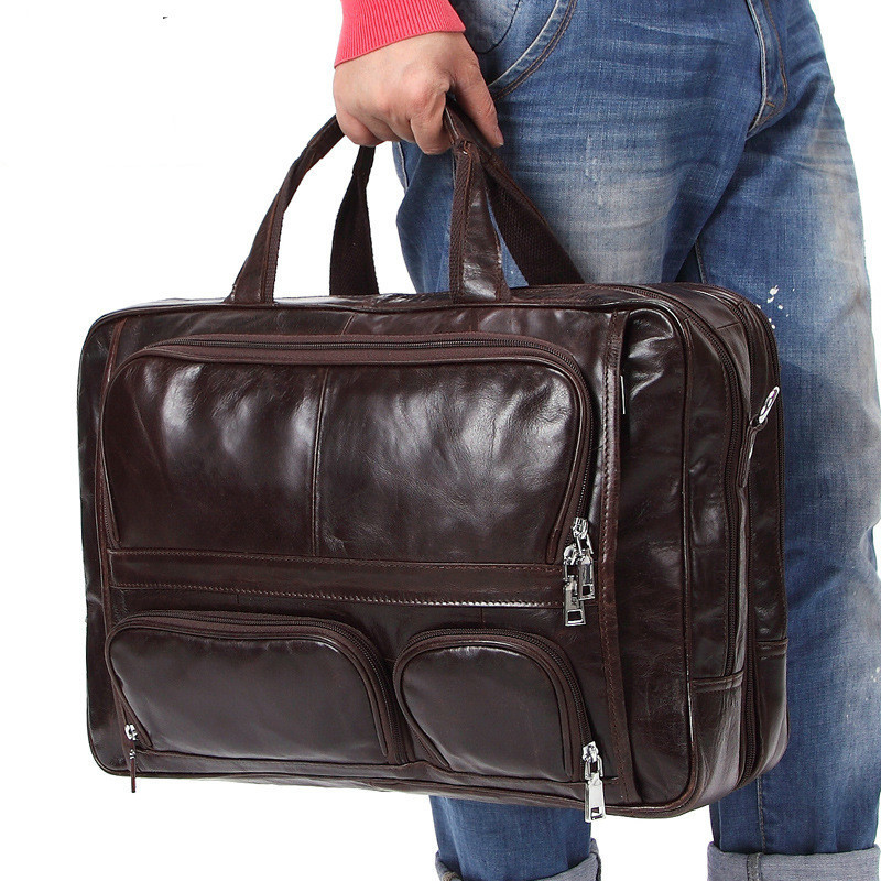 2018 New Large Capacity Genuine Leather Male Business Travel Bag Men Leisure Satchel Man Handbag Fit 16 Inch Laptop PR008136