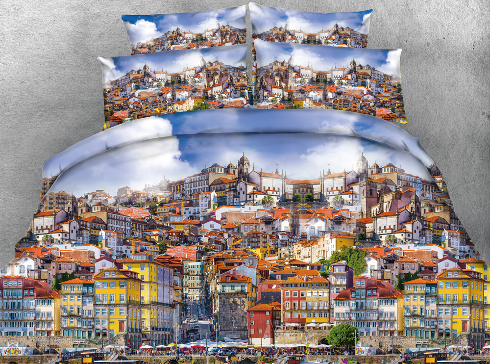 3D Printed Comforter Bedding Sets Twin Full Queen Super Cal King Size Bed Covers Bedspread Special Small Town Building Scenery3D Printed Comforter Bedding Sets Twin Full Queen Super Cal King Size Bed Covers Bedspread Special Small Town Building Scenery