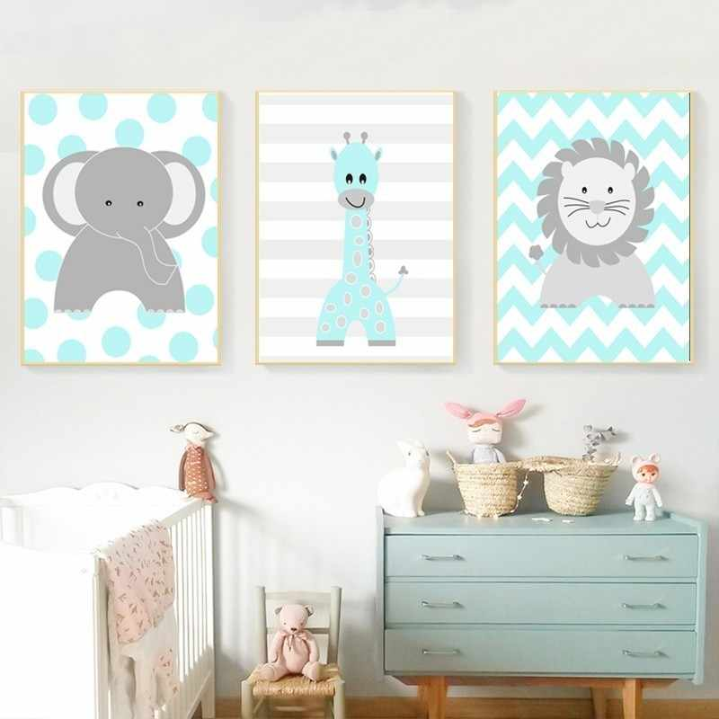 Cartoon Animals Lion Elephant Giraffe Nursery Decor Canvas Paintings Nordic Print Poster Wall Art Picture Boys Girls Room Decor