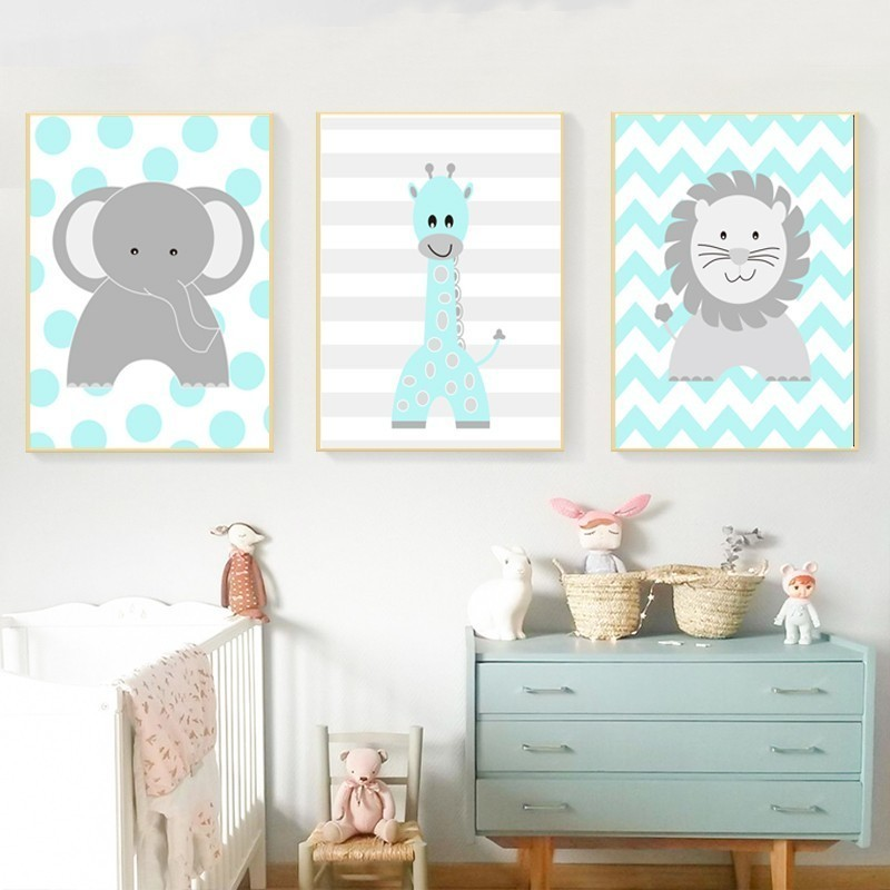 Us 4 79 40 Off Cartoon Animals Lion Elephant Giraffe Nursery Decor Canvas Paintings Nordic Print Poster Wall Art Picture Boys S Room In