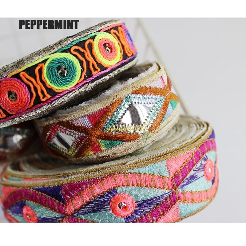 1yard Ethnic Trim Embroidered Webbing DIY Handmade Sewing Net Yarn Ribbons Clothing Decorative Lace Trim