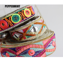 1yard Ethnic Trim Embroidered Webbing DIY Handmade Sewing Net Yarn Ribbons Clothing Decorative Lace