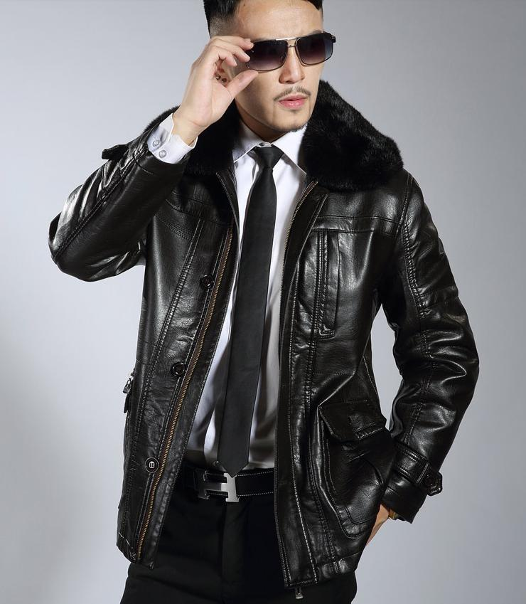 Detachable fur collar black plus velvet man faux leather jacket men casual leather jackets brand mens leather jackets and coats