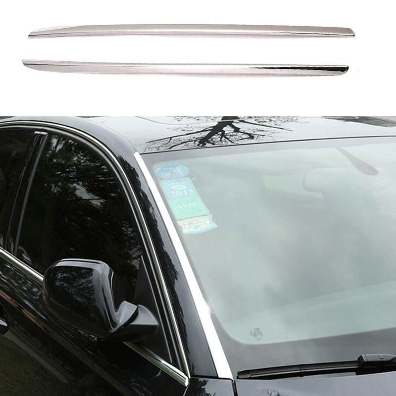 2pcs Stainless Front Windshield Stripe Decorator Cover