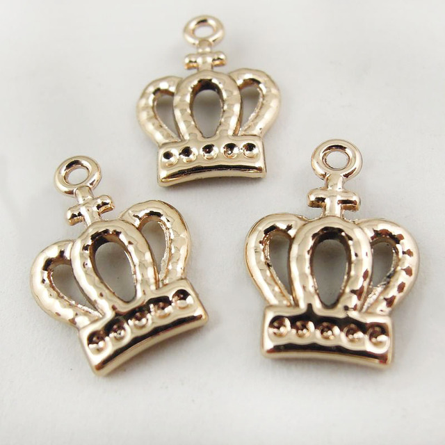40PCSPack Alloy Rose Gold Crown DIY Jewelry Findings Pendant Charms