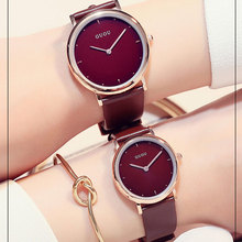 Reloj de lujo de Las Mujeres de cuero de Primeras Marcas Del Reloj de Oro Rosa Vestido de Marca de Relojes de Cuarzo Ultra delgado Reloj de pulsera de reloj de mujer