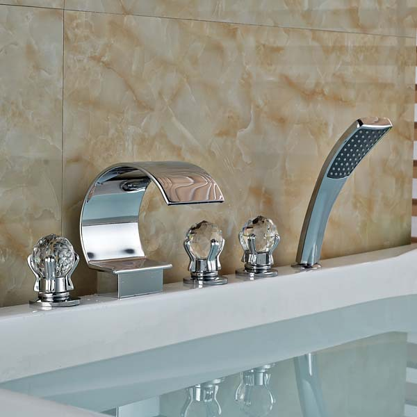 Crystal Ball Handles C Curved Waterfall Bathroom Tub Faucet Sink Mixer Tap
