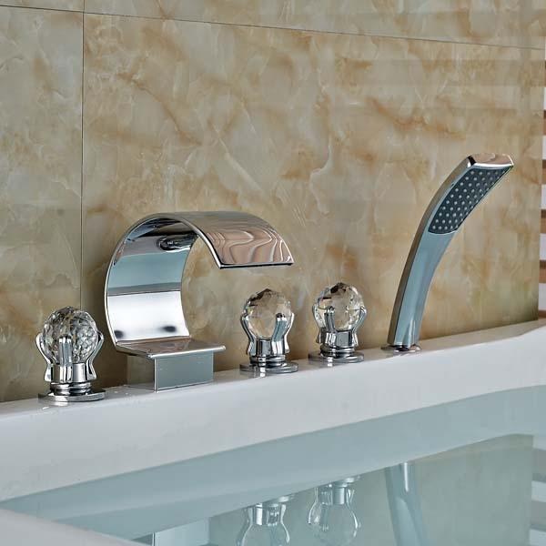 Crystal Ball Handles C Curved Waterfall Bathroom Tub