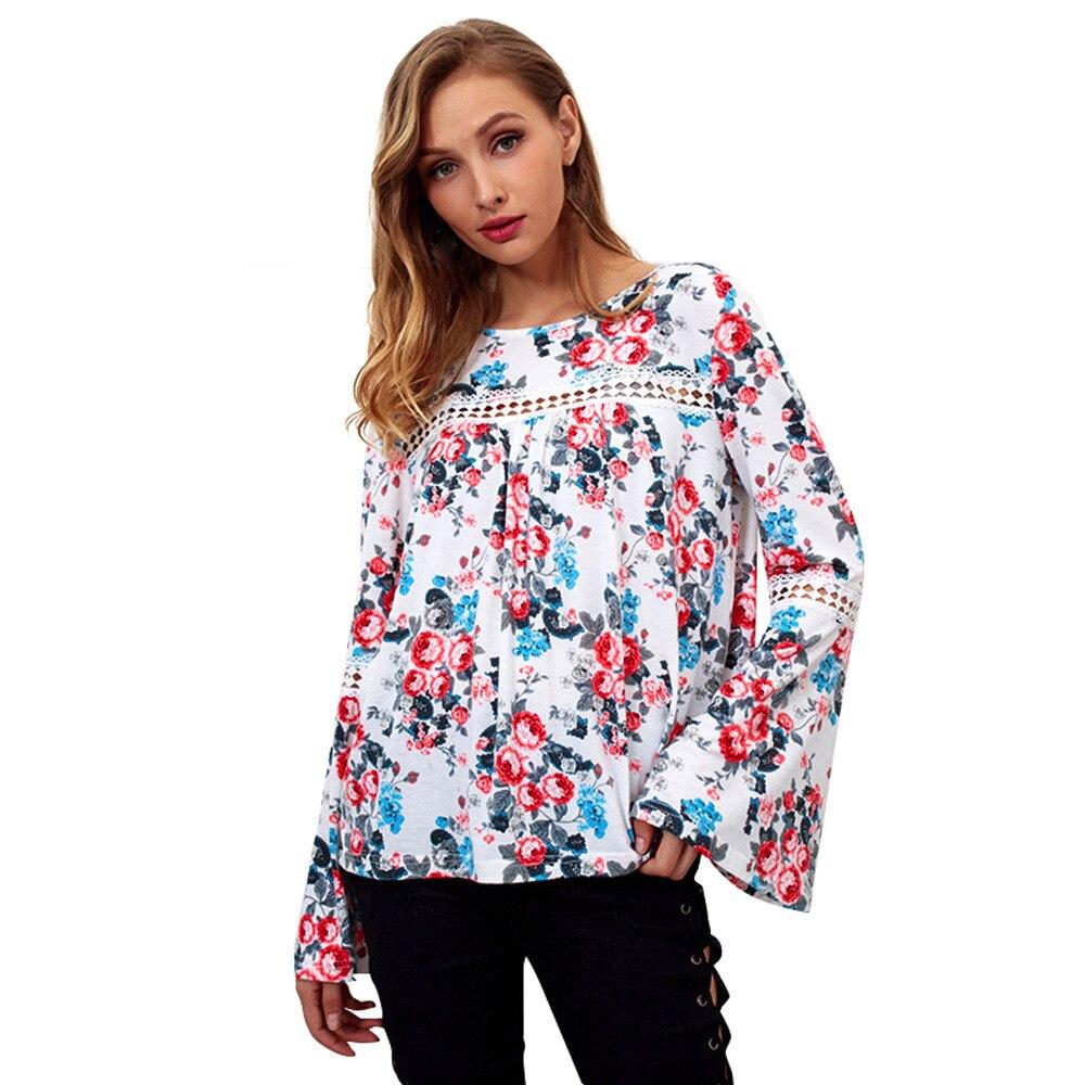 2019 Flare Hülse Druck Mode V-ausschnitt Lose Lotus Blatt Saum Frauen Langarm Bluse Blume Frauen Tops Und Blusen # Xqx