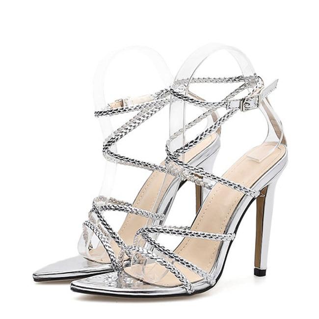 Chaussures De Étroite Swc0342 Gladiateur À Sandales Gold Sexy Hauts Talons silver Bande Luxe Tissage Femmes Bout Pointu Monmoira Soirée Bq7OO