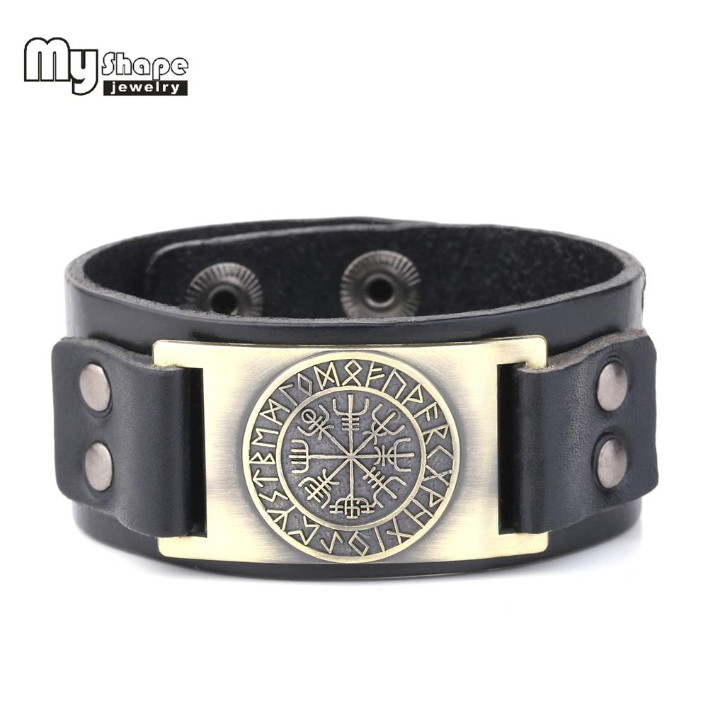 my shape 2018 New Dropshipping Viking Vegvisir Compass pendants bangle Nordic Runes Men Jewelry Odin Symbol Leather bracelets