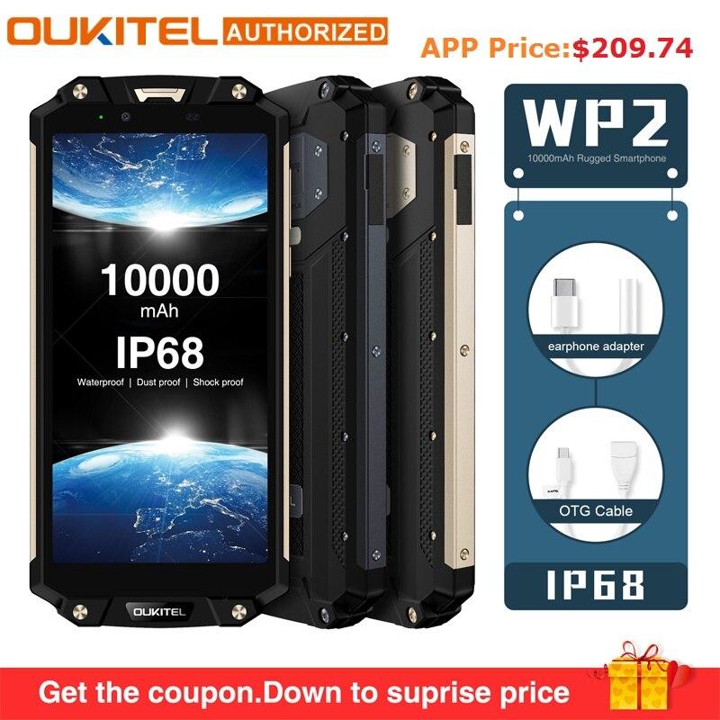 OUKITEL WP2 IP68 Étanche Poussière Résistant Aux Chocs Téléphone Mobile 4G RAM 64G ROM Octa base 6.0 10000 mAh D'empreintes Digitales Smartphone phablet