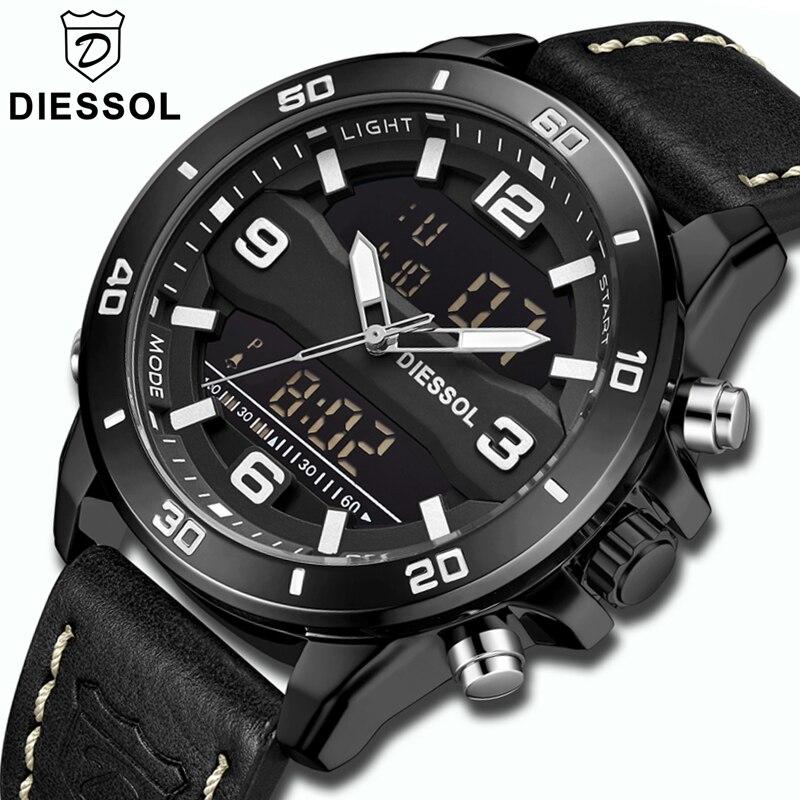 DIESSOL Fashion Sport Mens Watches Top Brand Luxury Quartz LED Digital Watch Men Leather Waterproof WristWatch