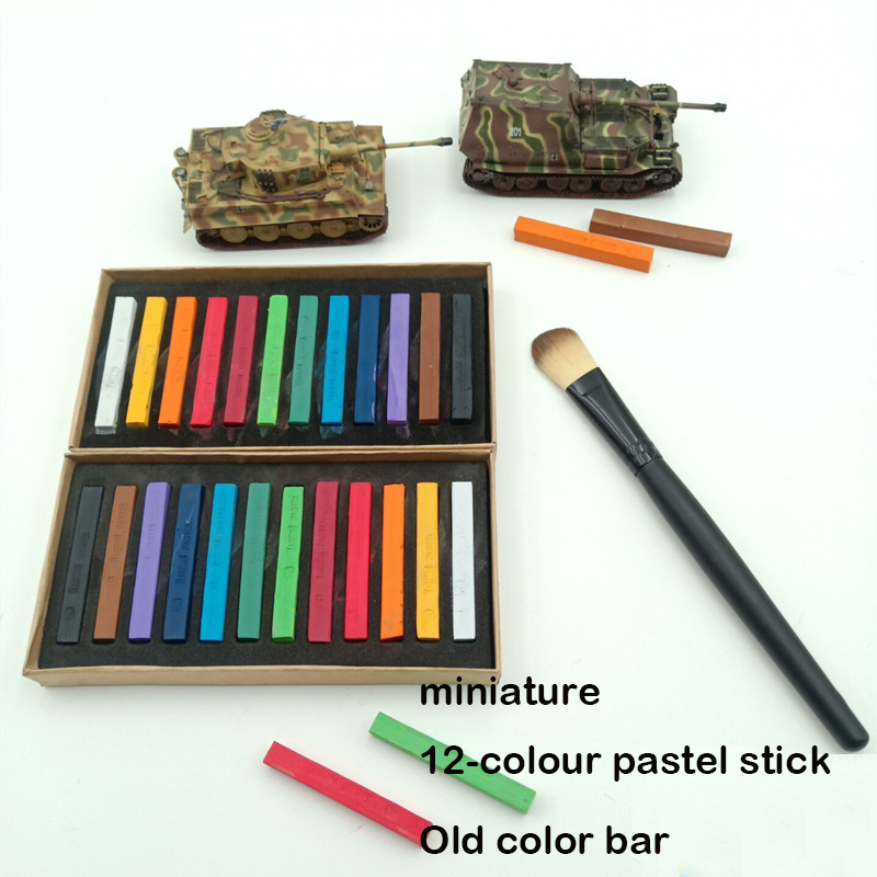 Miniature 12-colour Pastel Stick Old Color Bar Model Aging Situational Sand Table Diy Tool Hair Dye For Coloring Scene Models